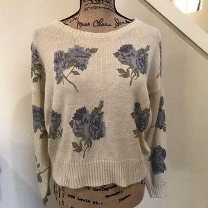 Love by design sweater, wide neck, floral, crop